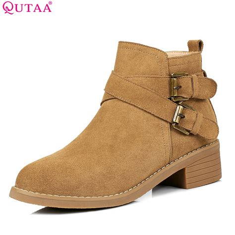 Boots Zipper 2018 qutaa 2018 fashion and autumn ankle boots zipper suqare high heel toe cow