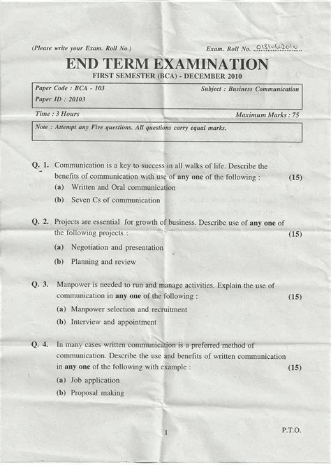 business communication question papers