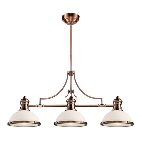Glass Island Lights Titan Lighting Chadwick 3 Light Antique Copper Island Light With White Glass Shades Tn 10062