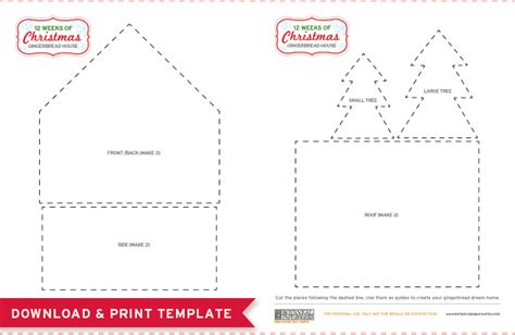 free printables gingerbread house template and a