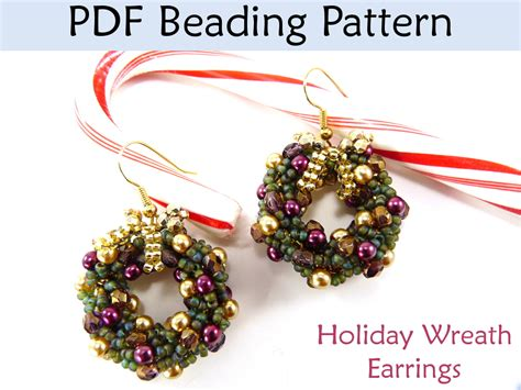 patterns christmas jewelry christmas earrings beading tutorial double spiral stitch