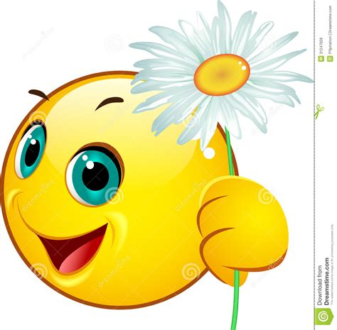 scarica clipart emoticon giving a camomile stock vector illustration of