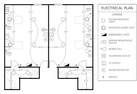 electrical architectural symbols for floor plans patient room electrical plan floor plans pinterest