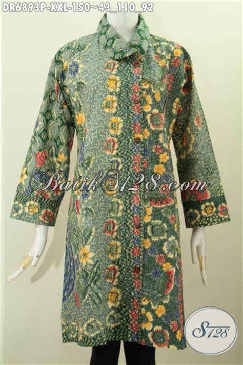 desain baju kerah online dress batik elegan untuk wanita gemuk kerah miring desain