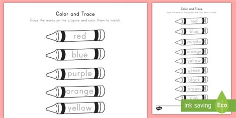 color word color words on crayons worksheet colors color words
