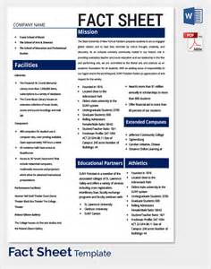 Blank Fact Sheet Template by Sle Fact Sheet Template 13 Free Documents
