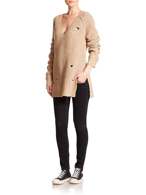 Cdg Thick Knit V Neck Cardigan Gargons 129 lyst wildfox dusk distressed knit tunic sweater in