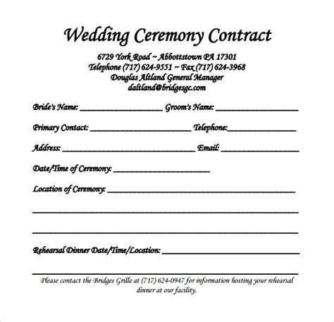 20 Wedding Contract Templates To Download For Free Wedding Band Contract Template