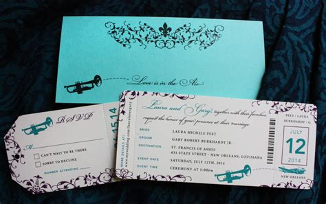 boarding new orleans purple teal turquoise new orleans inspired airline ticket wedding invitations
