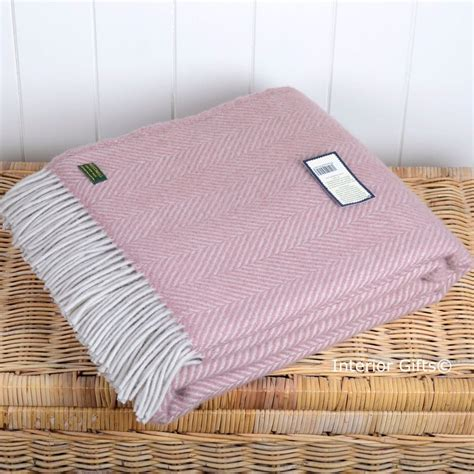 Wool Blankets And Throws by Dusky Pink Pearl Wool Throw Tweedmill Fishbone Weave
