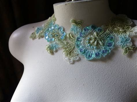 beaded lace appliques aqua green beaded lace applique for lyrical ballet