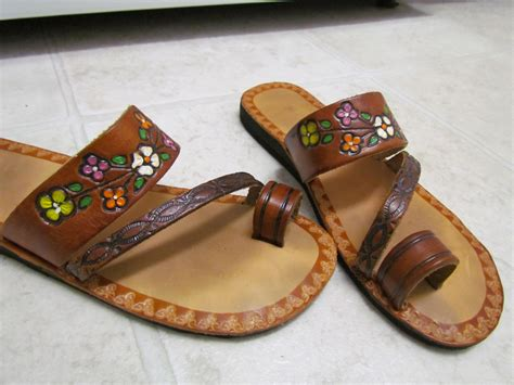 hippie slippers vintage tooled painted leather hippie sandals 7
