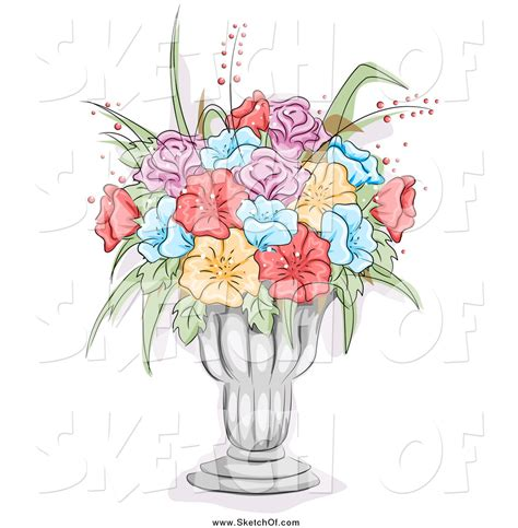 Drawing Of Flowers In Vase by Flower Vase Design Drawing
