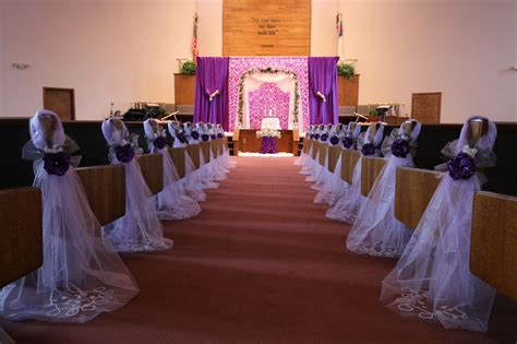 purple wedding decorations chair bows pew bows satin