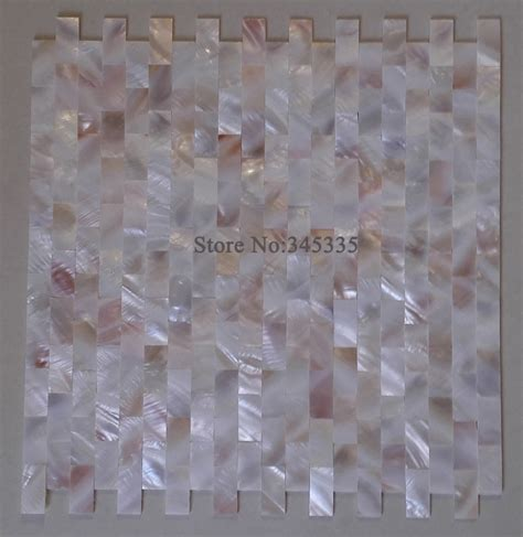 Groutless Kitchen Backsplash groutless brick mother of pearl shell mosaic tile pink