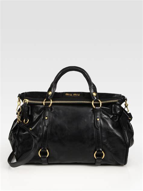 Miu Miu Vitello Satchel by Miu Miu Vitello Large Bow Bag In Brown Lyst