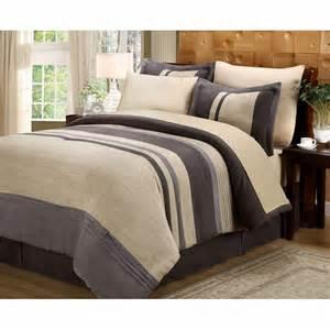 8pc dune tan chocolate grey striped comforter 180tc
