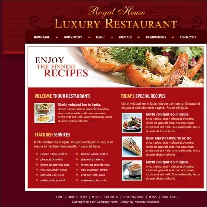 luxury restaurant template free website templates in css