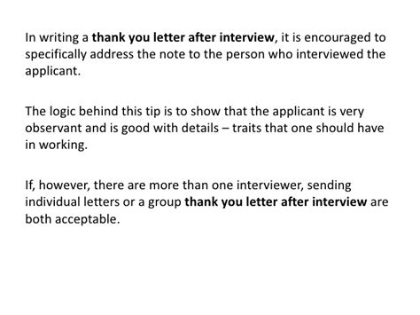 thank you letter after address thank you letter after