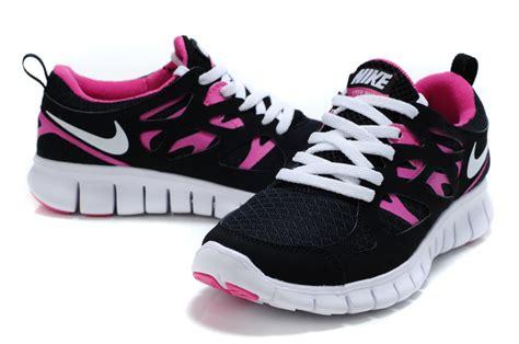 black white nike free run 2 s running shoes