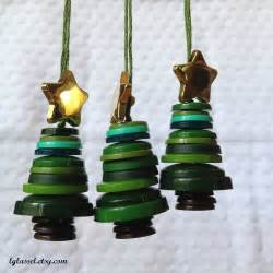 button christmas tree ornaments set of 3