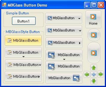 vbnet ribbon designer mfc glass style button with dropdown menulist using vb net