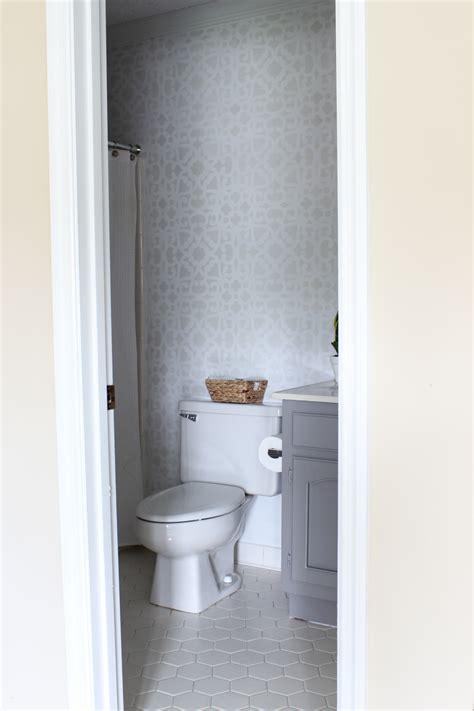bathroom stencils free bathroom makeover stenciled walls plus a giveaway