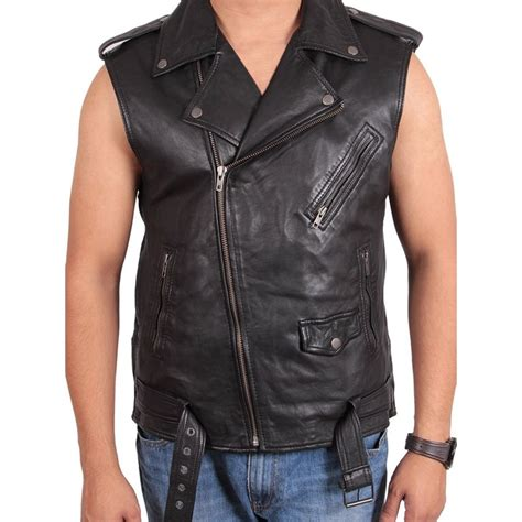 biker jacket vest brando mens leather biker jacket vest gilet