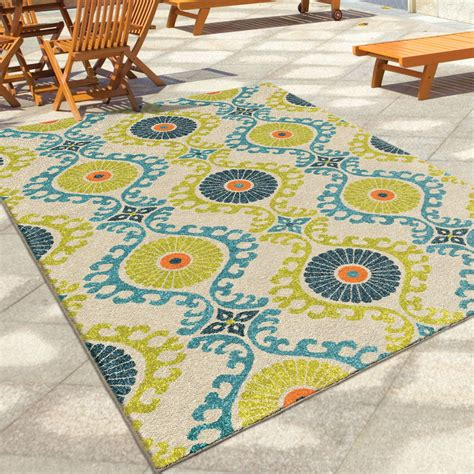 outdoor area rugs orian rugs indoor outdoor scroll medallion kokand multi