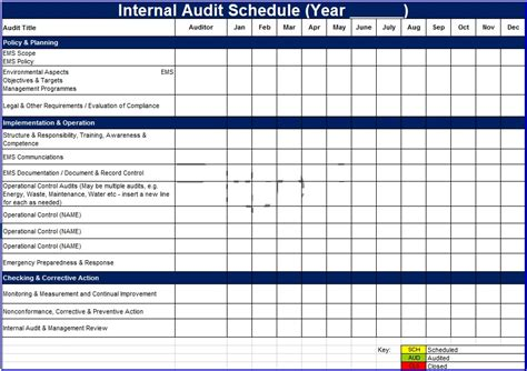 audit schedule template audit schedule template 6 free templates schedule