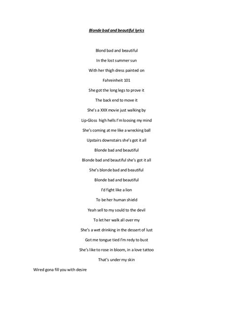 beautiful lyrics blonde bad and beautiful lyrics