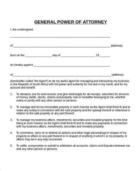 poa template free 15 power of attorney templates free sle exle