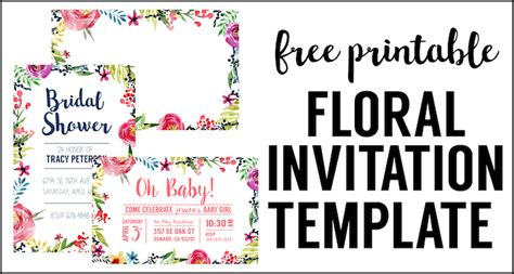 Watercolor Flower Banner Free Printable Paper Trail Design Printable Invitation Template