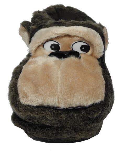 monkey house shoes mens novelty fur animal gorilla monkey slippers black brown size 6 7 8 9 10 11