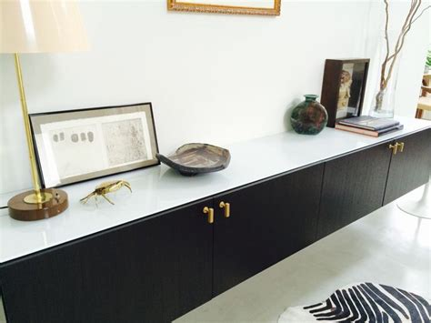ikea besta shelf pins modern floating console with brushed brass pulls