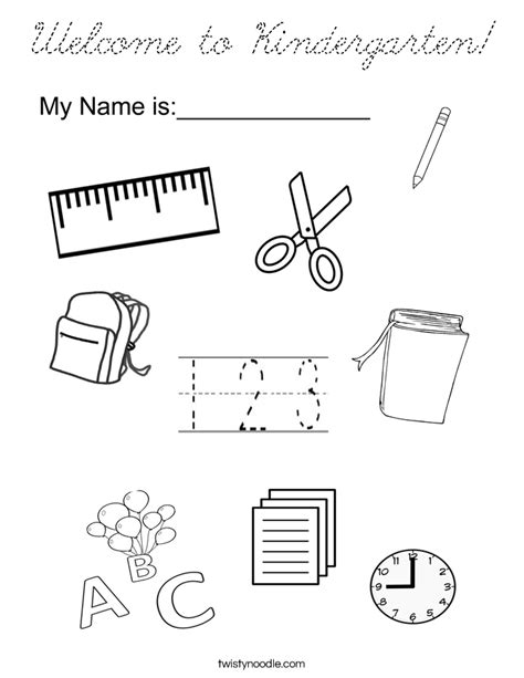 coloring page welcome to school welcome to kindergarten coloring page cursive twisty