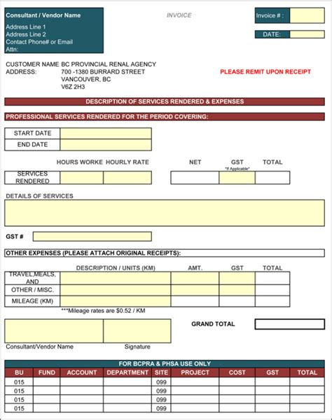 consulting invoice template excel contractor invoice template 6 printable contractor invoices