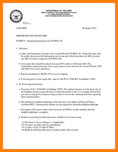 memo sections 10 memo for record format resume sections
