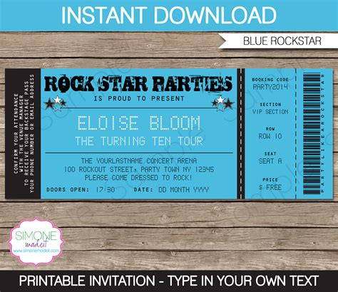 Rockstar Party Ticket Invitation Template Blue Birthday Ticket Invitation Template