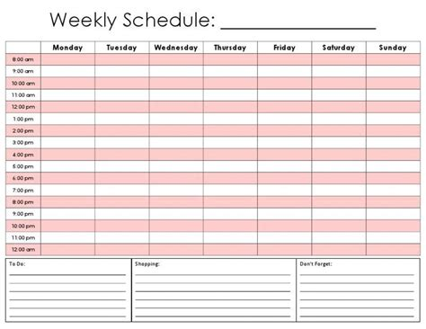 weekly schedule planner template weekly calendar by hour template calendar templates
