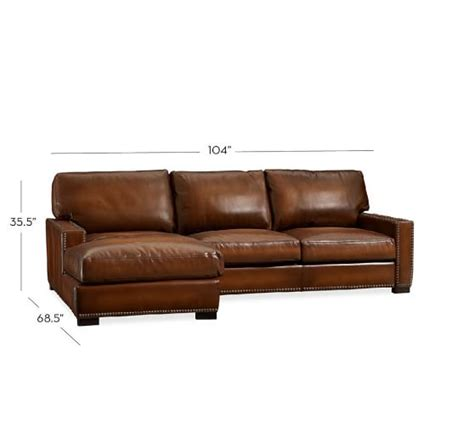 Leather Sofa Chaise Sectional Turner Square Arm Leather Sofa With Chaise Sectional With Nailheads Pottery Barn
