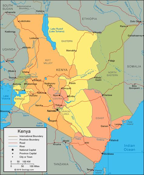 map of kenya africa kenya map and satellite image