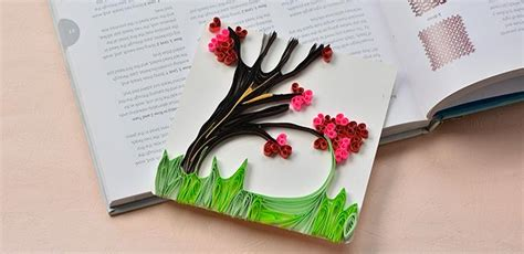 How To Make Handmade Cards At Home - quilled blossoming tree greeting card family crafts