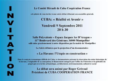 Exemple De Lettre D Invitation Aux Portes Ouvertes A Montpellier Quot Cuba Realite Et Avenir Quot Association Cuba Coop 233 Ration