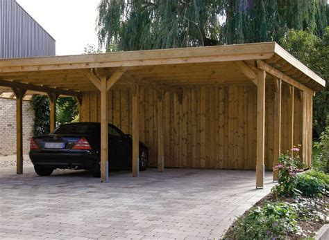 2 Car Carport Plans by Wood Carports Flat Roof Sloping Roof Braun W 252 Rfele