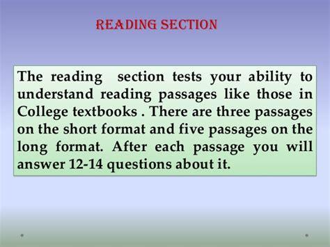 reading section toefl ibt a comprehensive presentation on toefl ibt by jan rahimi