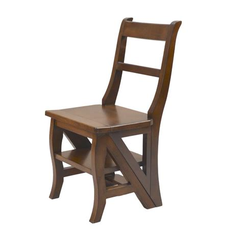 carolina cottage folding library ladder chair in chestnut