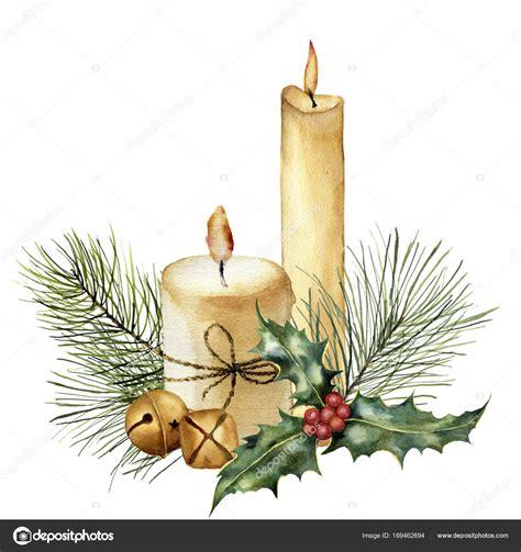 candela natale candela di natale dell acquerello con decorazioni