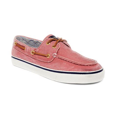 pink boat shoes sperry top sider bahama boat shoes in pink wased red