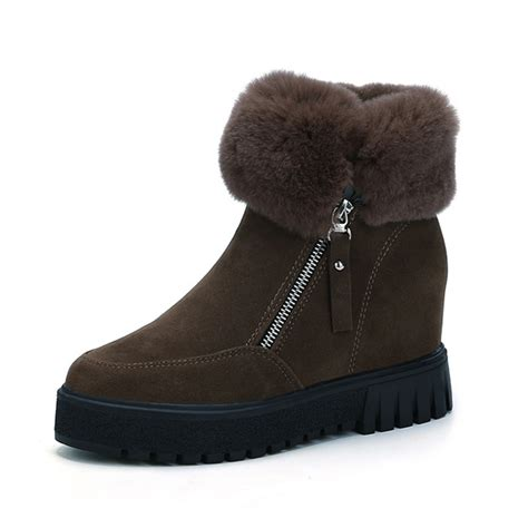 Moofeat Zipper 39 44 artificial fur lining side zipper heel increasing ankle boots us 39 81